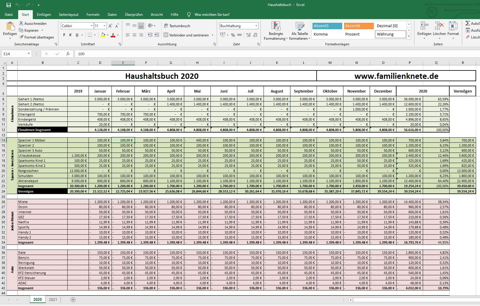 Kostenloses Haushaltsbuch Excel Vorlage Fur Familien Familienknete